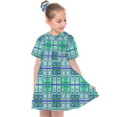 Mod Blue Green Square Pattern Kids  Sailor Dress