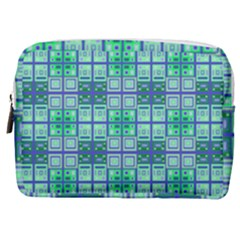 Mod Blue Green Square Pattern Make Up Pouch (medium)
