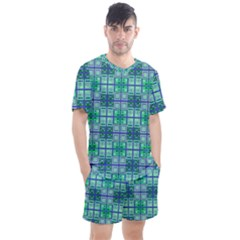 Mod Blue Green Square Pattern Men s Mesh Tee And Shorts Set