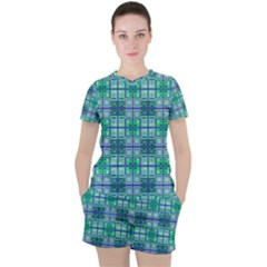 Mod Blue Green Square Pattern Women s Tee And Shorts Set