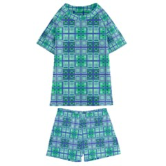 Mod Blue Green Square Pattern Kids  Swim Tee And Shorts Set