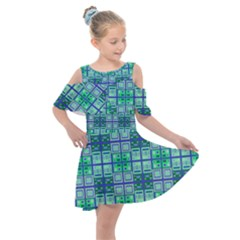 Mod Blue Green Square Pattern Kids  Shoulder Cutout Chiffon Dress