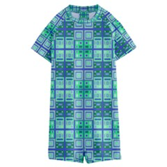 Mod Blue Green Square Pattern Kids  Boyleg Half Suit Swimwear