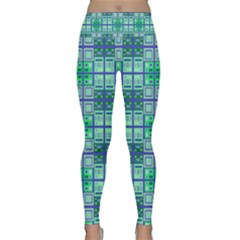 Mod Blue Green Square Pattern Lightweight Velour Classic Yoga Leggings