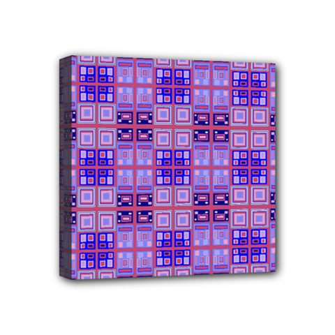 Mod Purple Pink Orange Squares Pattern Mini Canvas 4  X 4  (stretched)