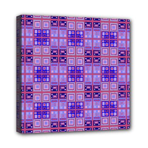 Mod Purple Pink Orange Squares Pattern Mini Canvas 8  X 8  (stretched)
