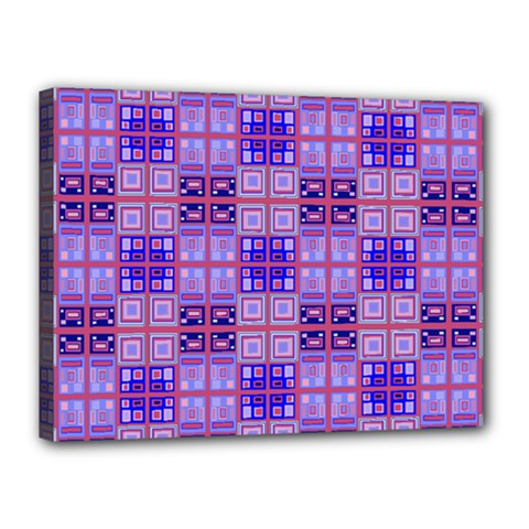 Mod Purple Pink Orange Squares Pattern Canvas 16  X 12  (stretched)