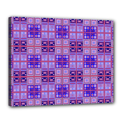 Mod Purple Pink Orange Squares Pattern Canvas 20  X 16  (stretched)