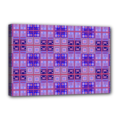 Mod Purple Pink Orange Squares Pattern Canvas 18  X 12  (stretched)