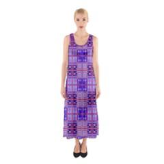 Mod Purple Pink Orange Squares Pattern Sleeveless Maxi Dress