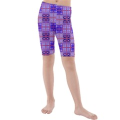 Mod Purple Pink Orange Squares Pattern Kids  Mid Length Swim Shorts