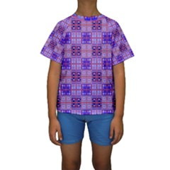 Mod Purple Pink Orange Squares Pattern Kids  Short Sleeve Swimwear