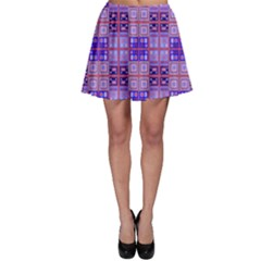 Mod Purple Pink Orange Squares Pattern Skater Skirt
