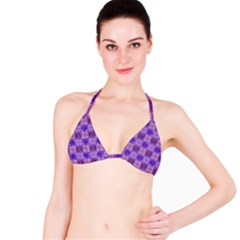 Mod Purple Pink Orange Squares Pattern Bikini Top