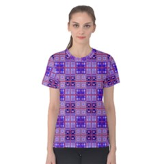 Mod Purple Pink Orange Squares Pattern Women s Cotton Tee