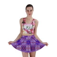 Mod Purple Pink Orange Squares Pattern Mini Skirt