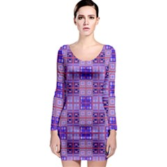 Mod Purple Pink Orange Squares Pattern Long Sleeve Bodycon Dress
