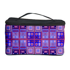 Mod Purple Pink Orange Squares Pattern Cosmetic Storage