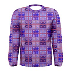 Mod Purple Pink Orange Squares Pattern Men s Long Sleeve Tee