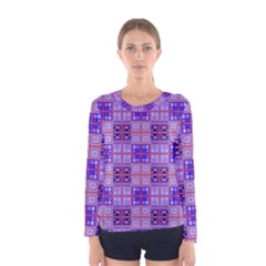 Mod Purple Pink Orange Squares Pattern Women s Long Sleeve Tee