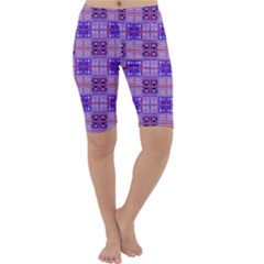 Mod Purple Pink Orange Squares Pattern Cropped Leggings