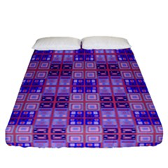 Mod Purple Pink Orange Squares Pattern Fitted Sheet (california King Size)