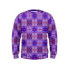Mod Purple Pink Orange Squares Pattern Kids  Sweatshirt