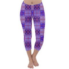 Mod Purple Pink Orange Squares Pattern Capri Winter Leggings