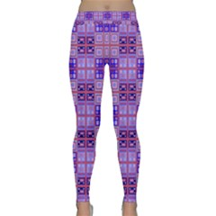 Mod Purple Pink Orange Squares Pattern Classic Yoga Leggings