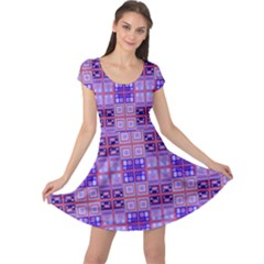 Mod Purple Pink Orange Squares Pattern Cap Sleeve Dress