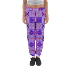 Mod Purple Pink Orange Squares Pattern Women s Jogger Sweatpants