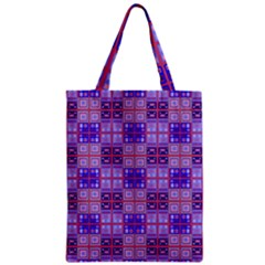 Mod Purple Pink Orange Squares Pattern Zipper Classic Tote Bag