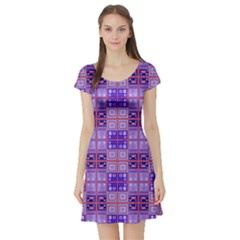 Mod Purple Pink Orange Squares Pattern Short Sleeve Skater Dress