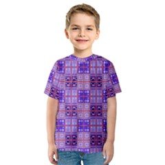 Mod Purple Pink Orange Squares Pattern Kids  Sport Mesh Tee