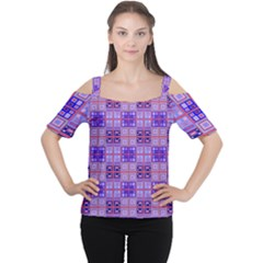 Mod Purple Pink Orange Squares Pattern Cutout Shoulder Tee