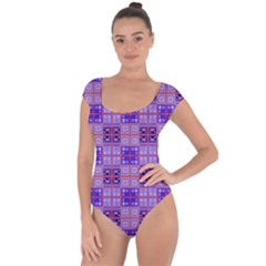 Mod Purple Pink Orange Squares Pattern Short Sleeve Leotard