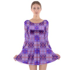 Mod Purple Pink Orange Squares Pattern Long Sleeve Skater Dress
