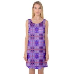 Mod Purple Pink Orange Squares Pattern Sleeveless Satin Nightdress