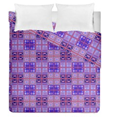 Mod Purple Pink Orange Squares Pattern Duvet Cover Double Side (queen Size) by BrightVibesDesign
