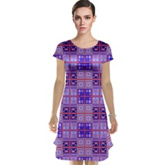 Mod Purple Pink Orange Squares Pattern Cap Sleeve Nightdress