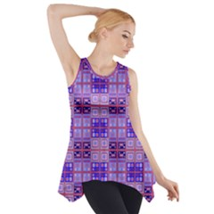 Mod Purple Pink Orange Squares Pattern Side Drop Tank Tunic