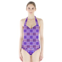 Mod Purple Pink Orange Squares Pattern Halter Swimsuit