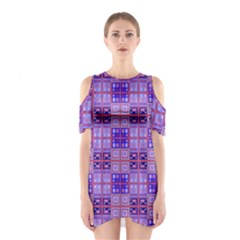 Mod Purple Pink Orange Squares Pattern Shoulder Cutout One Piece Dress