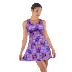 Mod Purple Pink Orange Squares Pattern Cotton Racerback Dress