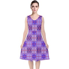 Mod Purple Pink Orange Squares Pattern V Neck Midi Sleeveless Dress