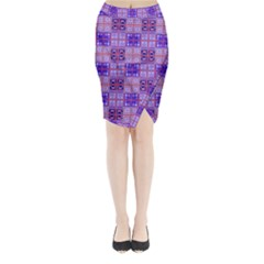 Mod Purple Pink Orange Squares Pattern Midi Wrap Pencil Skirt