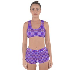 Mod Purple Pink Orange Squares Pattern Racerback Boyleg Bikini Set