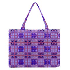 Mod Purple Pink Orange Squares Pattern Zipper Medium Tote Bag