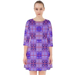 Mod Purple Pink Orange Squares Pattern Smock Dress