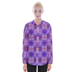 Mod Purple Pink Orange Squares Pattern Womens Long Sleeve Shirt